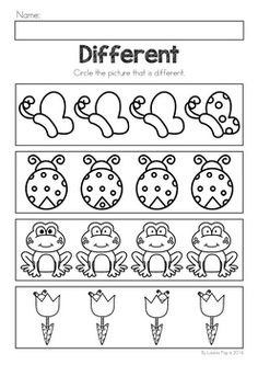 Spring Preschool No Prep Worksheets & Activities. A page from the unit: what is different (visual discrimination) Preschool Learning Activities, Free Preschool, Preschool Curriculum, Pre K Activities, Pre K Worksheets, Kindergarten Worksheets, Transitional Kindergarten, Kindergarten Prep, Kids Education