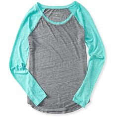 Aeropostale Sheer Long Sleeve Heathered Raglan Tee ($16) ❤ liked on Polyvore featuring tops, t-shirts, ocean mist neon, sheer long sleeve t shirt, fluorescent t shirts, neon tees, sheer long sleeve tee and sheer top