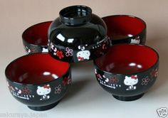 Hello Kitty Made in JAPAN Japanese Miso Soup Cup x5 Noodles Bowl Lacquer Ware