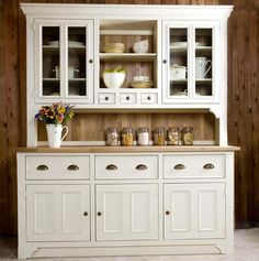 The dresser with step-back upper cabinets or shelves provided workspace and storage in a Victorian kitchen. : The dresser with step-back upper cabinets or shelves provided workspace and storage in a Victorian kitchen. Kitchen Sideboard, Kitchen Buffet, Country Kitchen, New Kitchen, Kitchen Decor, Kitchen Cabinets, Buffet Hutch, China Cabinets, Dining Room Dresser