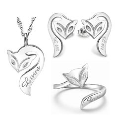 Find More Jewelry Sets Information about Silver Plated Set Necklace Earrings Rings Accessories Para Mulher White Jewelry Sets Rhinestones Cute Fox Shaped Ulove T393,High Quality set frog,China set heart Suppliers, Cheap set up wedding tables from Ulovestore Jewelry on Aliexpress.com