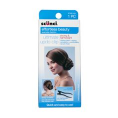 Scunci Ultimate Updo Clip Strong and Lightweight! Scunci's 100% Carbon Fiber ultimate updo clip provides exceptional performance, strength and durability. Lightweight and comfortable, yet as strong as metal, this versatile clip provides superior, all-day hold. Create and secure a variety of Updos. RRP AU$9.95