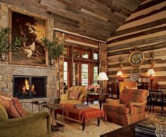 Featured in Architectural Digest, Toad Hall belongs to Kreis and Sandy Beall, and it sits on 32 acres in Tennessee. The architect was Jack Davis, and they brought Atlanta-based designer Suzanne Kasler in to give the log house some English Country Style. Architectural Digest, English Country Style, Country Style Homes, English Countryside, Modern Country, Modern Rustic, Modern Decor, Diy 2019, Enchanted Home