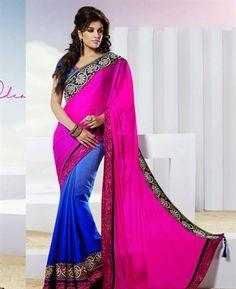Buy Fancy Pink & Royal Blue Chiffon Saree [ADF33189] at $74.88