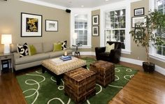 Rug in bold green makes an impact visually