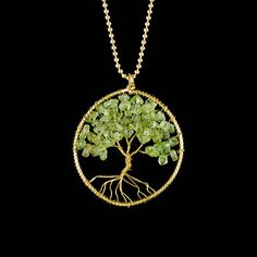 Wire and bead tree pendant, peridot tree necklace, tree of life chain, brass wire necklace, green peridot handmade gift her christmas Wire Tree Necklace, Tree Of Life Necklace, Perfect Gift For Her, Gifts For Her, Tree Of Life Pendant, Green Peridot, Emerald Earrings, Sister Gifts, Brass Chain