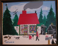 MAUD LEWIS HOUSE and a painting by FOLK Artist Fred Trask Check out the story about Maud here MAUD LEWIS ARTIST DIGBY Nova... Maudie Lewis, Winter Christmas Scenes, Canadian Art, Naive Art, Art For Art Sake, Pictures To Paint, Teaching Art, Art And Architecture, Folk Art