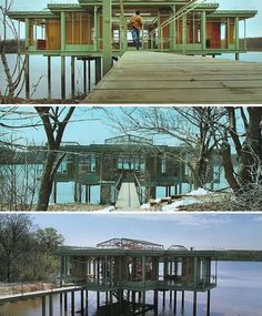 THE LAKE HOUSE: in the Chicago area, the modern house, a glass box on stilts at the end of a pier, is minimalist steel in the tradition of architect Mies van der Rohe.  Also loved this movie