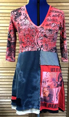 Women'n Upcycled Dress / Size Medium / Funky Tunic / Beatles / Let It Be