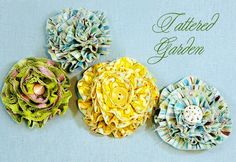 Fabric flowers - http://sew4home.com/projects/fabric-art-a-accents/882-celebrate-spring-with-fabric-flowers-