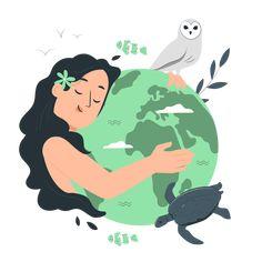 Mother earth day Customizable Semi Flat Illustrations | Pana Style
