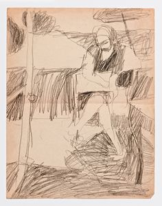 Diebenkorn, Graphite on paper Drawing from Sketchbook # 06 [seated figure in landscape,