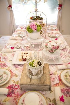 Gorgeous party table from Colorful Tea Party at Kara's Party Ideas. See this party and more at karaspartyideas.com!