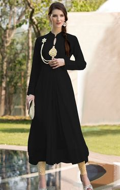 Picture of Black Color Georgette Party Wear Kurti