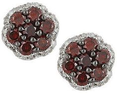Affinity Diamond Jewelry As Is Cluster Diamond Stud Earrings, Sterling,1.00ct tw, by Affinity