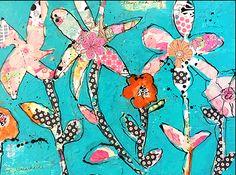 "www.tweetyjill.comTweetyJills ETSY""Flower Garden Abstract Collage"""