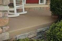 painted concrete patio - Google Search Concrete Patios, Painted Concrete Porch, Cement Patio, Painting Concrete, Floor Paint Design, Concrete Countertops, Concrete Sealer, Epoxy, Concrete Floors