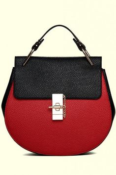 LUCLUC Red and Black Oval Shape Satchel Bag