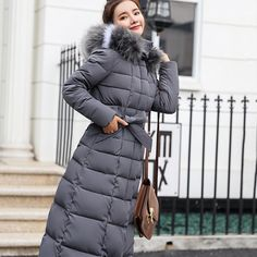 World-Palm Womens Real Fur Collar Coat Female Long Winter Loose Warm Duck Down Jackets Gray Natural,S
