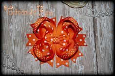 Orange Swiss Dot Boutique Hair Bow Orange by PinkHairBowBoutique
