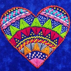 #corazonbordado sobre #telaazul con #sedalina . . . . . . . . . . . #coeurbrode #bordadosamano #embroideredheart #ricamare #broderie… Diy Embroidery Designs, Hand Embroidery Patterns, Embroidery Stitches, Embroidery Hearts, Beaded Embroidery, Fabric Embellishment, Needlepoint Patterns, Wool Applique, Yarn Needle