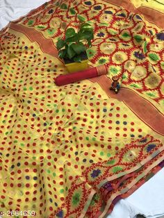 Sarees Trendy Cotton Jamdani Women's Saree  *Fabric* Saree - Cotton Jamdani, Blouse - Cotton Jamdani  *Size* Saree Length - 5.50 Mtr , Blouse Length - 0.80 Mtr  *Color* Yellow  *Work* Jamdani This Idol Is Only For Catalog Purpose  *Note* This Flower Vase Is Only For Catalog Purpose  *Sizes Available* Free Size *   Catalog Rating: ★4.1 (173)  Catalog Name: Free Mask Vardaniya Printed Jamdani Cotton Sarees With Polka Dot CatalogID_360388 C74-SC1004 Code: 3701-2664659-