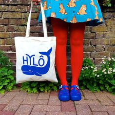 Wales Tote Bag - Whale from Wales, Welsh bag design by helloDODOshop