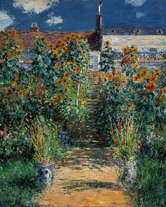 Claude Monet  - The Artist's Garden at Vétheuil at the Norton Simon Museum in Pasadena, CA. My hometown museum! Here's Monet at the height of his Impressionist powers. This was one of 5 he did of the same scene.