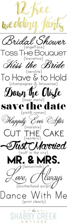 Fonts free fonts for personal use) Twelve free wedding fonts, perfect for any affair. From romantic to modern, the perfect font for any bride or party. Free for personal use only.Read-only In computer technology, read-only can refer to: Fancy Fonts, Cool Fonts, Pretty Fonts, Fuentes Silhouette, Gratis Fonts, Diy Invitation, Invites, Cricut Wedding Invitations, Inkscape Tutorials