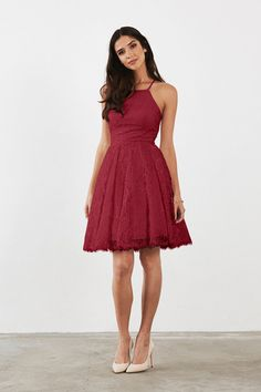 Hadley Bridesmaid Dress in Burgundy in Lace