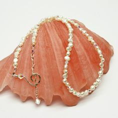 Dainty Necklace White Pearl and Swarovski Crystal Hand by STBridal @roxannecoffelt