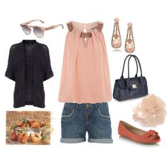 Peach & Navy, created by stigro on Polyvore