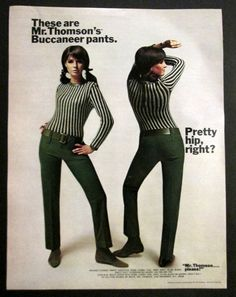 1960s fashion ad Mr. Thomson's Buccaneer Loden Green Hip Hugger Skinny Pants