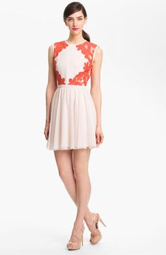 Ted Baker London Mixed Media Fit & Flare Dress available at #Nordstrom