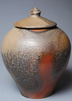 Covered Jar Wood Fired M34 by JohnMcCoyPottery
