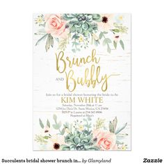 Shop Succulents bridal shower brunch invitation created by Glamyland. Brunch Invitations, Bridal Shower Invitations, Invites, Green Bridal Showers, Bridal Shower Colors, Brunch Wedding, Wedding Parties, Bridal Shower Decorations, Wedding Decorations