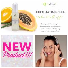 Just Announced!!!  It Works! newest product is an exfoliating peel.  I can't wait to try it!! Available Nov 1st. $60 retail OR $36 as a loyal customer.   Who wants to be the FIRST to try it!? http://onefitmissy.myitworks.com
