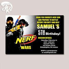 Nerf Gun War Birthday Birthday Party Card Digital Invitation Kid Birthday Party…