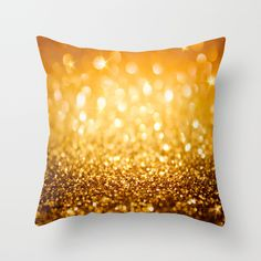 Gold Glitter Texture Throw Pillow