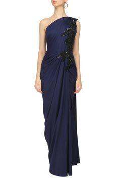 NEETA LULLA - Midnight Blue Embroidered One Shoulder Drape Gown #NeetaLulla #midnightblue #embroidered #oneshoulder #drapegown #perniaspopupshop #perniaqureshi #indowestern #contemporary #indianstyle #indianfashion #indiandesigner #happyshopping