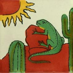 Traditional Mexican Tile - Iguana. Could do fake arch with this type of scene inside