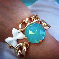 EVA  Turquoise Crystal Bracelet by GlamourMeJewels on Etsy, $28.00