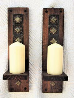 Wall Sconces Rustic Candle Sconces Pair of Wooden Wall Mount