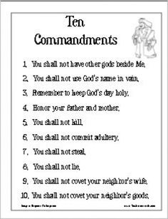 Ten Commandments Poster Version 1 | Thatresourcesite – Educational and Religious Education Resources for Teachers and Homeschoolers.