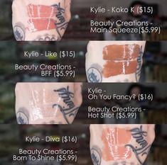 Kylie Koko, Koko K, Main Squeeze, Beauty Creations, Beauty Dupes, Hot Shots, Bff, Diva, Fancy