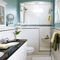 narrow small bathroom after remodel