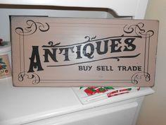 Vintage inspired Antique Shop Sign - hand lettered/ drawn. via Etsy.