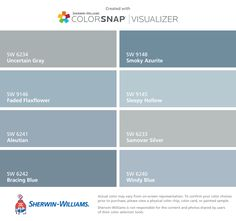 I found these colors with ColorSnap® Visualizer for iPhone by Sherwin-Williams: Uncertain Gray (SW 6234), Faded Flaxflower (SW 9146), Aleutian (SW 6241), Bracing Blue (SW 6242), Smoky Azurite (SW 9148), Sleepy Hollow (SW 9145), Samovar Silver (SW 6233), Windy Blue (SW 6240).