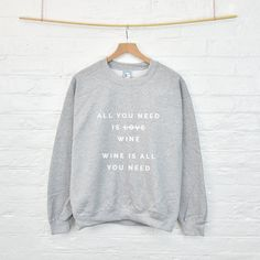 All You Need Is Personalised Sweatshirt Jumper Funny Valentine's Gift... ($40) ❤ liked on Polyvore featuring tops, hoodies, sweatshirts, black, women's clothing, cut loose tops, pastel tops, loose tops, loose fit tops and loose fitting tops
