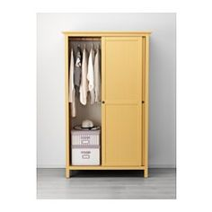 IKEA - HEMNES, Wardrobe with 2 sliding doors, yellow, , Made of solid wood, which is a durable and warm natural material.Perfect for folded as well as long and short hanging clothes.If you want to organize inside, you can complement with interior accessories from the SVIRA series.